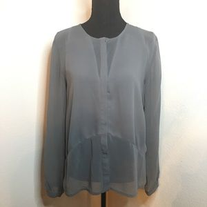 H&M sheer charcoal gray button up blouse